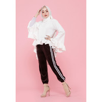 Hijab Ellysha SHINNY PLEATED LISTED JOGGER PANTS BROWN