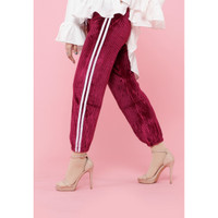 Hijab Ellysha SHINNY PLEATED LISTED JOGGER PANTS MAROON