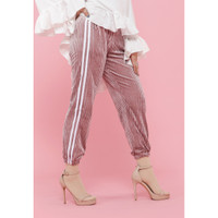 Hijab Ellysha SHINNY PLEATED LISTED JOGGER PANTS PINK