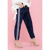 Hijab Ellysha SHINNY PLEATED LISTED JOGGER PANTS NAVY