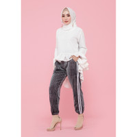 Hijab Ellysha SHINNY PLEATED LISTED JOGGER PANTS GREY