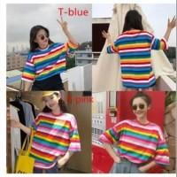 Baju Atasan Wanita Kaos CANDY O-NECK MOTIF GARIS PELANGI SWEET RAINBOW