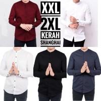 Kemeja Shanghai Lengan Panjang Pria BIG Size XXL 2XL Slimfit - Hitam