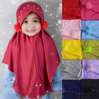 Kerudung Anak Pom-Pom - Hijab Bayi Anak Perempuan