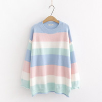 Sweater Rajut Pastel / Sweater Stripe / Knit Sweater