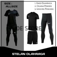 Paket Hemat Stelan Olahraga Manset Kaos/Jersey Futsal Hitam Nike Murah