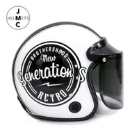 Helm Bogo Retro Kaca Datar Motif BrotherHood SNI
