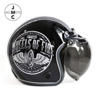 Helm Bogo Retro JMC Motif Wheels Of Fire Hitam SNI