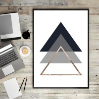 Kaitlyn☺Modern Geometric Triangle Canvas Poster No Frame Painting