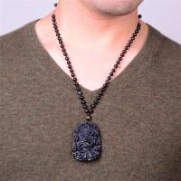 Terlaris Perhiasan Kalung Dengan Liontin Batu Obsidian Keberuntungan