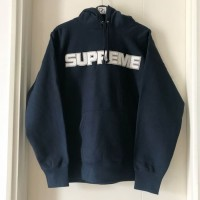 Supreme Perforated Leather Hoodie - Navy 100% Original