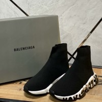 SEPATU BALENCIAGA SPEED GRAFFITI TRAINERS SNEAKER BLACK WHITE