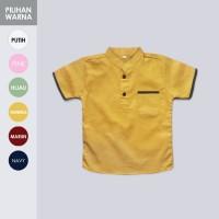 Kemeja Koko Anak Lengan Pendek Kuning Mustard Kunyit Polos HEIJA KOPEN