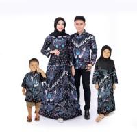 batik couple ayah ibu dan hem anak dan gamis anak baju keluarga