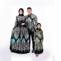 Couple batik gamis Ayah ibu dan anak perempuan baju keluarga