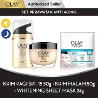 Olay Set Perawatan Anti Aging + Whitening Sheet Mask 24g