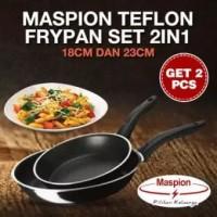 Maspion TEFLON FRY PAN HITAM Set 2in1 18cm dan 23cm