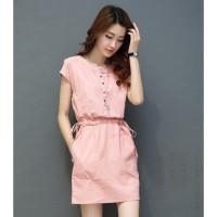 Dress Casual Wanita Cotton Linen Short Sleeve Size M - Pink JQR024
