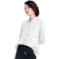 Kemeja Wanita EDITION EB50BLUE Floral Outline Shirt