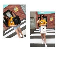Tas tote Kekinian Solid Stylish untuk jalan jalan, traveling, sekolah - Kuning