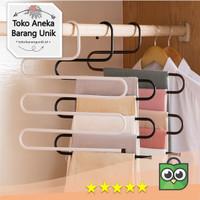 Hanger Bentuk S / Gantungan Baju Celana Jilbab Rok Dasi - Premium - Putih