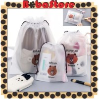 Bobastore - R080 Tas Kosmetik Line Transparan MakeUp Pouch Travel Bag