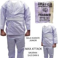 baju karate anak frasser max attack ukuran 3 4 5 6 dan 7 bahan lebih