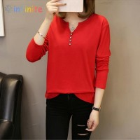 Kaos T-Shirt V-Neck Lengan Panjang Warna Polos, Ukuran Besar