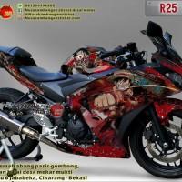 Decal Motor Sticker Motor Yamaha R25 One Piece Merah 0SSXFv