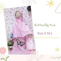 mukenah anak katun size s 1-2tahun • butterfly pink