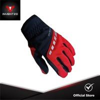 INVENTZO Torino Red Black - Sarung Tangan Motor Sensitive Touch Pria