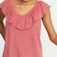 OLD Ruffled trim linen bland Top