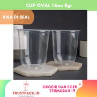 Gelas Plastik Cup oval BOBA 16 oz 8 gram Bisa di Seal