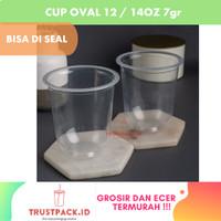 Gelas Plastik PP CUP Oval 12 Oz 7 gram (Bisa di Seal)