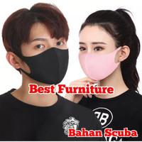 Best Masker Bahan Scuba anti Debu, Polusi, Virus Bakteri Model Korea