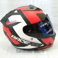 Helm Fullface GM Race Pro X Ride Black red doff Single Visor Smoke