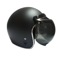 Helm Retro List Chrome HKM Black Doff Silver L