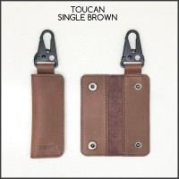 gantungan kunci toucan original single brown tactical kulit sapi asli