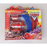Mainan Anak Kereta Api Cars Merah Gauge Electric Train Set 877-61