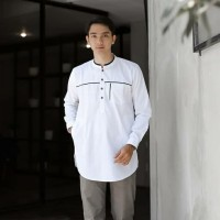 BAJU KOKO PRIA / KURTA PAKISTAN ALANZA / TERLARIS PREMIUM - Putih, XL