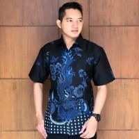 naga biru pendek kemeja furing batik solo pria lengan pendek - Pendek, M
