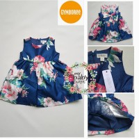 Gymboree Party Dress Blue Floral Sateen Dress Anak Branded
