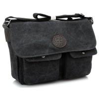Tas Selempang Messenger Bag Bahan Canvas - 1008 Black