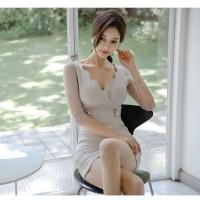 Mini Dress Korea Sexy Gray Sexy Bodycon sz S Import