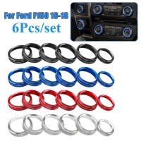 6Pcs Air Conditioner & Audio Switch Knob Ring Cover Trim For Ford