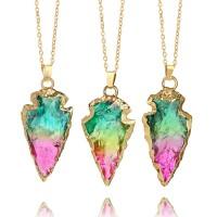 Kalung Liontin Batu Kristal Alami Warna Pelangi untuk Wanita