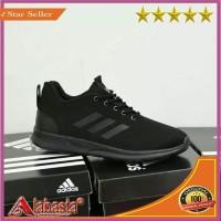 SEPATU ADIDAS FULL HITAM RUNNING/ Sepatu Jahitan Kuat & Rapih