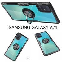 Casing Hardcase Transparan Iring Samsung Galaxy A71 Hard Back Case - Hitam