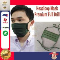 Masker Kain Headloop Hijab ( Masker Warna ) Premium Drill