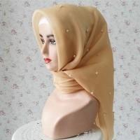 Hijab jilbab kerudung segi empat organza silk premium mutiara pesta